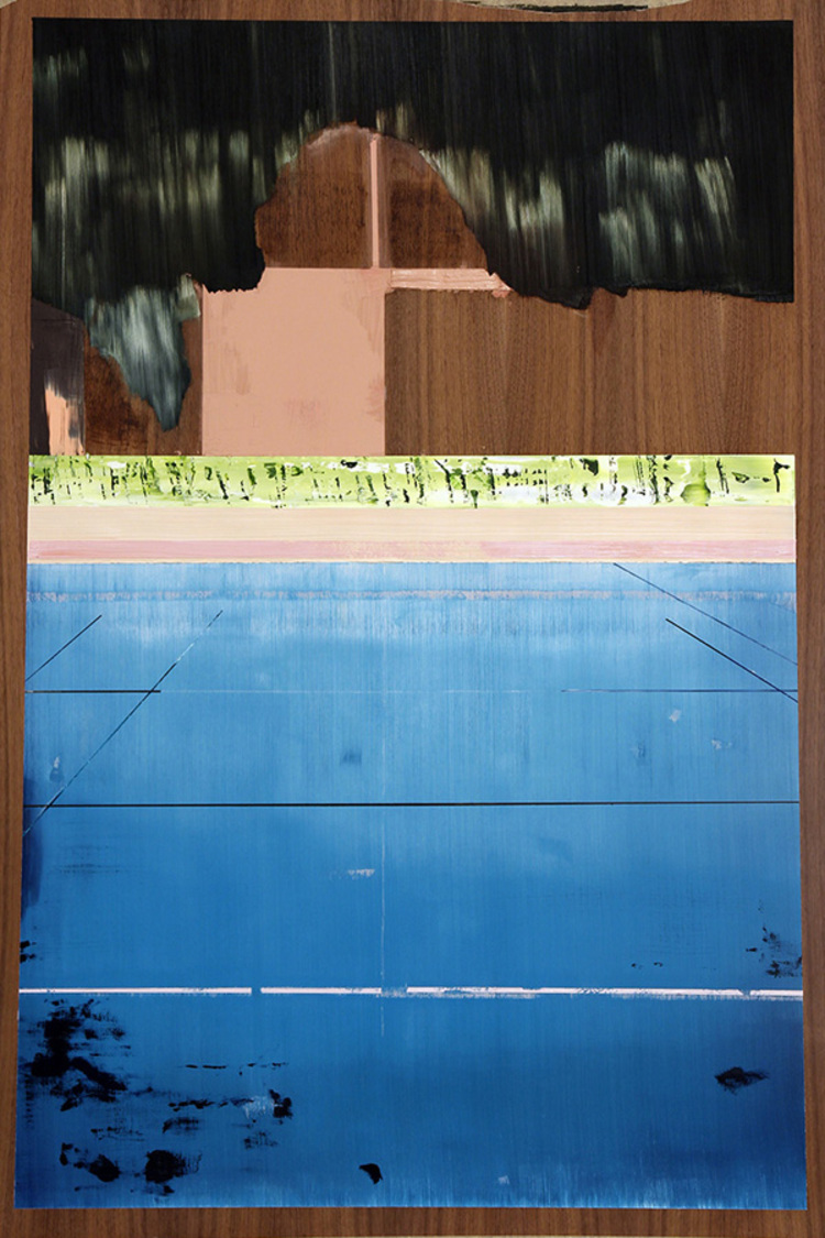 Title: Untitled (Tennis Court, Kanifinolhu) Year: 2013 Medium: Oil on board Size: 120 x 80 cm