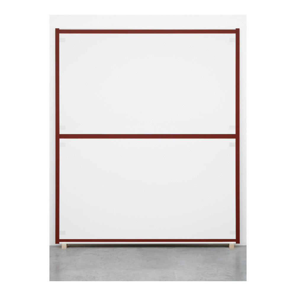 Alan Uglow, Standard # 2 (Red Oxide), 2002, Acrylic on cotton, 214 x 183 cm. Courtesy the artist and Galerie Nordenhake Berlin / Stockholm / Mexico City. Photo: Gunter Lepkowski